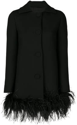 Moschino feather trim coat