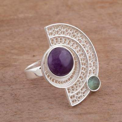 Stellar Harmony Amethyst and Fluorite Filigree Cocktail Ring from Peru