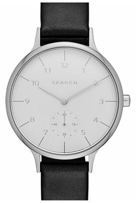 Women's Skagen 'Anita' Leather Strap Watch, 34Mm $145 thestylecure.com