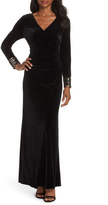 Vince Camuto Sequin Cuff Stretch Velvet Gown