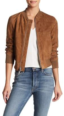 Theory Daryette Lamb Suede Bomber Jacket