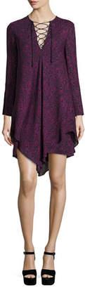 Derek Lam 10 Crosby Long-Sleeve Lace-up Swing Dress, Midnight/Multicolor