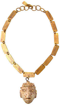 One Kings Lane Vintage Mexican Brass Stone Necklace