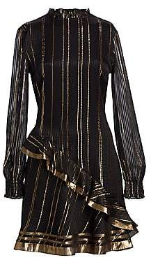 Derek Lam 10 Crosby Women's Metallic Ruffle Long-Sleeve A-Line Dress - Size 0