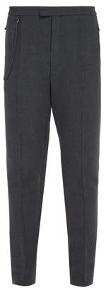 Bottega Veneta Slim Leg Wool Blend Trousers - Mens - Grey