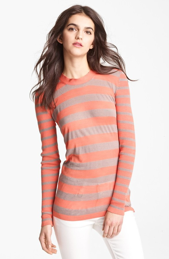 Burberry Stripe Knit Top Pale Fawn/ Coral Stripe Medium