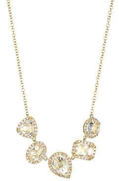 Ef Collection Women's 14K Yellow Gold, Topaz & Diamond Multi-Cluster Necklace