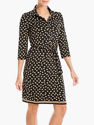 Max Studio Circle Print Jersey Shirt Dress, Black/Clay