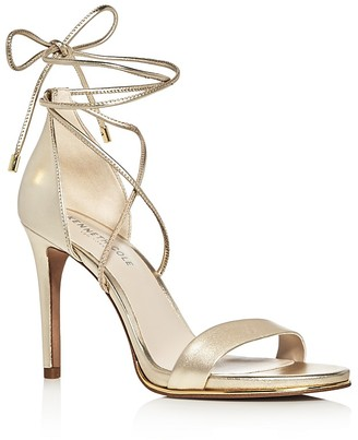 Kenneth Cole Berry Metallic Leather Ankle Tie High Heel Sandals $140 thestylecure.com