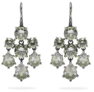 Bottega Veneta Chandelier Oxidised Silver Earrings - Womens - Green