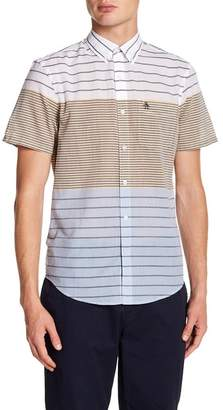 Original Penguin Short Sleeve Engineered Stripe Print Heritage Slim Fit Shirt