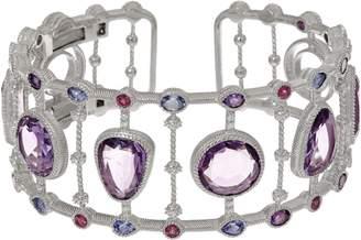 Judith Ripka Sterling 17.00 cttw Multi Gemstone Cuff Bracelet