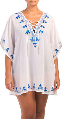 Plus Nautical Lace Up Cover-up