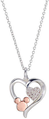 Disney Classics Womens White Cubic Zirconia Heart Minnie Mouse Pendant Necklace
