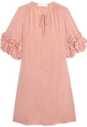 See by Chloé - Ruffled Silk Mini Dress - Blush $485 thestylecure.com