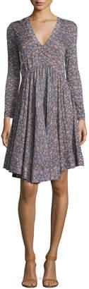 Rebecca Taylor Lavish V-Neck Long-Sleeve Dress