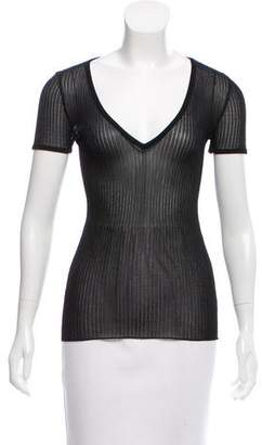Balmain Semi-Sheer Short Sleeve Top