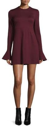 McQ Alexander McQueen Long-Sleeve Satin Sheath Dress, Port $455 thestylecure.com