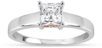 Swarovski FINE JEWELRY Sterling Silver 18k Rose Gold Over Silver Princess Cut 1 1/7 Ct. T.W. Solitaire Ring - Featuring Zirconia