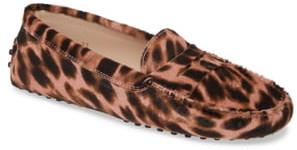Tod's Gommini Leopard Print Genuine Calf Hair Driving Moccasin