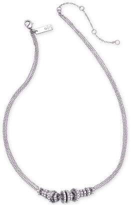 """INC International Concepts I.n.c. Silver-Tone Pave Rondelle Bead Triple-Chain Collar Necklace, 16"""" + 3"""" extender"""