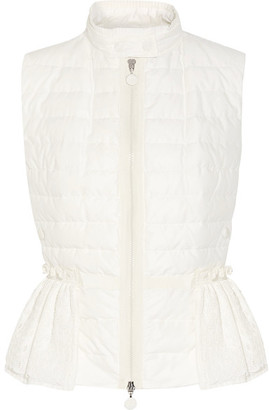Moncler - Valensole Paneled Quilted Cotton And Broderie Anglaise Down Gilet - Off-white $1,020 thestylecure.com