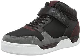 Armani Jeans Men's Neoprene & Leather HIGH TOP Fashion Sneaker