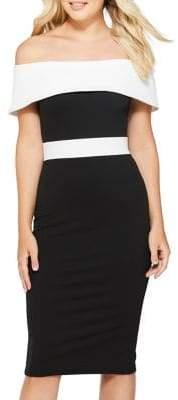 Quiz Off-Shoulder Panel Midi Dress