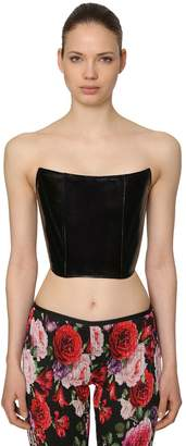 Faux Patent Leather Bustier Top