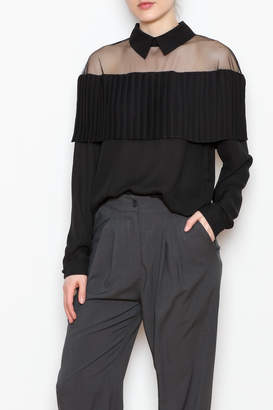 Allison Collection Pleated Ruffle Blouse