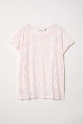 H&M Burnout-patterned T-shirt - Pink