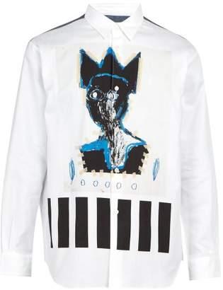 Comme des Garcons Basquiat Crown Print Cotton Herringbone Shirt - Mens - Multi