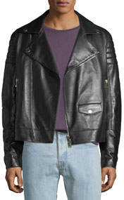 Men's Zip-Front Leather Moto Jacket