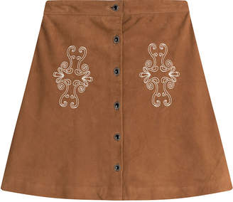 The Kooples Suede Skirt with Embroidery