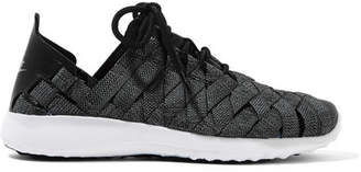 Nike - Juvenate Premium Faux Textured Leather-trimmed Woven Sneakers - Gray $110 thestylecure.com