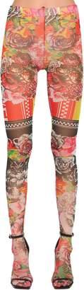 Versace Sheer Printed Stretch Tulle Leggings