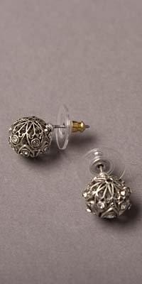 Silver Jeweled Circular Stud Earrings by Nicole Miller