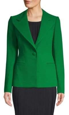 Oscar de la Renta Textured Virgin Wool Blazer