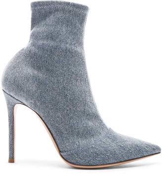 Gianvito Rossi Denim Stretch Ankle Booties in Stonewash | FWRD