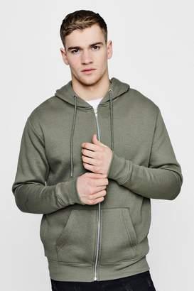 boohoo Basic Zip Through Fleece Hoodie