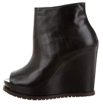 Brunello Cucinelli Leather Wedge Ankle Boots w/ Tags