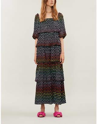 Olivia Rubin Birdie polka-dot silk-satin dress