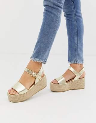345550d748fc Miss Selfridge espadrille flatform sandals in gold