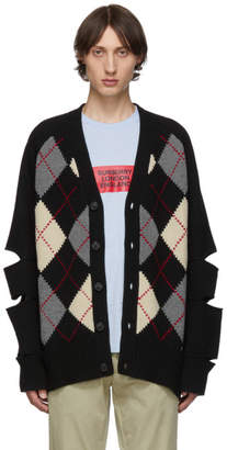 Burberry Black Merino and Cashmere Cut-Out Downton Cardigan