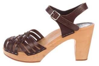Swedish Hasbeens Braided Sky High Sandals Brown Braided Sky High Sandals