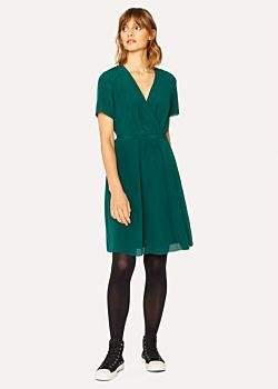 Women's Dark Green Wrap Silk Dress