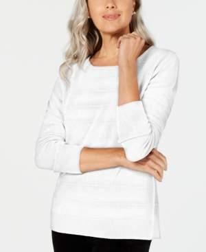 Karen Scott Textured-Stripe Sweater, Created for Macy's