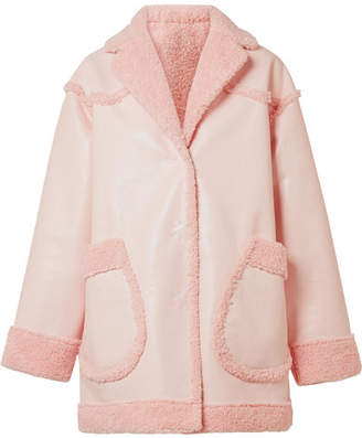 Opening Ceremony Reversible Faux Shearling And Faux Leather Coat - Pastel pink
