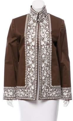 Ellen Tracy Linda Allard Embroidered Open Front Jacket