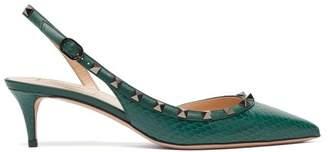 Valentino Rockstud Elaphe Sling Back Heels - Womens - Dark Green
